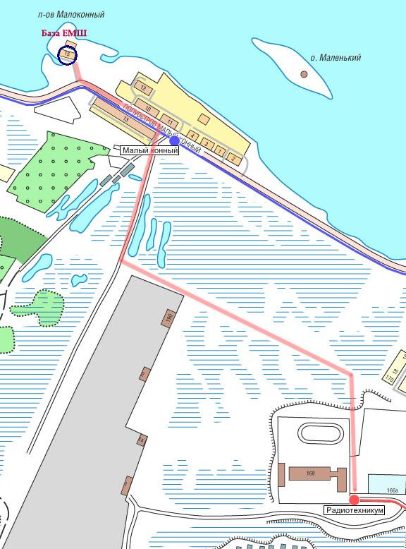 Схема проезда на базу ЕМШ ДОСААФ