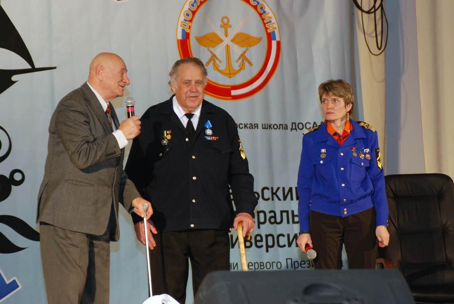 С.И. Спектор, В.П. Крапивин и Л.А. Крапивина на юбилее отряда «Каравелла»
