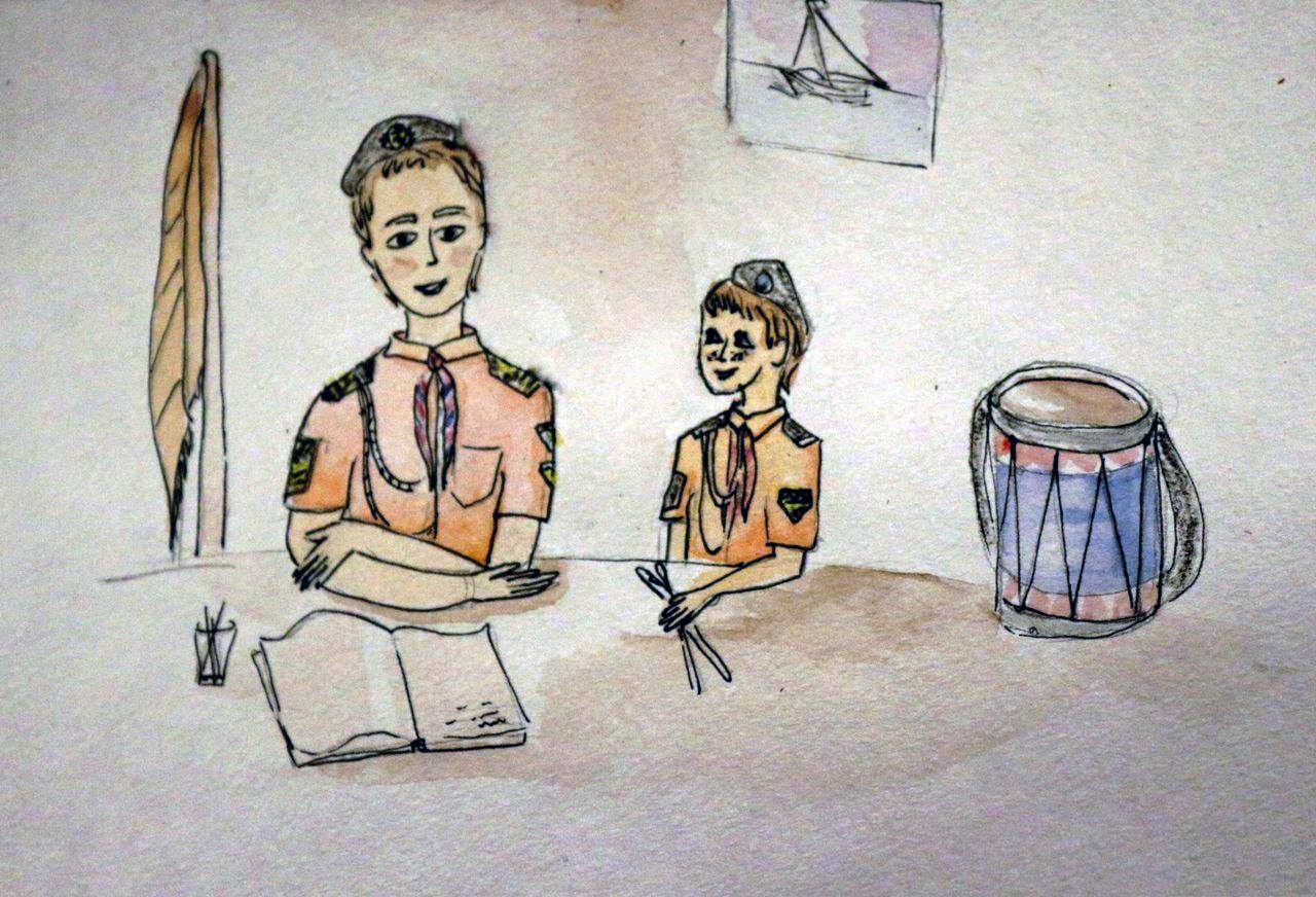 Знаменосец Алёшка и барабанщик Славка говорят о знамёнах. Рисунок Арины Носовой.