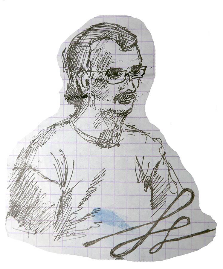 Сергей Иванович Казанцев на встрече с участниками «Оранжевого лета» (Рисунок Марии Четвериковой)