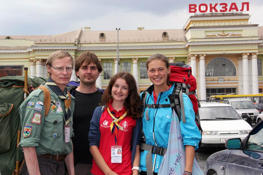 Катя Кудюкова вместе со скаутами из Норвегии после Оранжевого лета - 2013