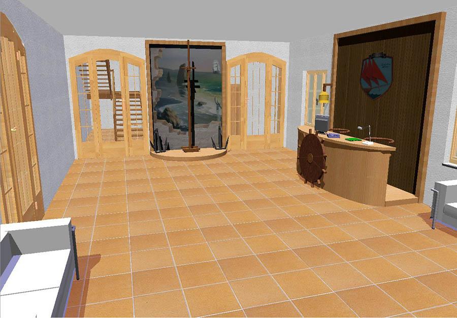 Холл в новом помещении (здесь и далее - проект: В.Доможиров; иллюстрация: А.Копылов).