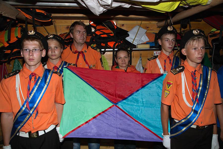 Флаг сборов РВО, сшитый из четырёх галстуков