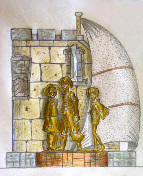 Памятник на площади Карронад... Рисунок неизвестного автора