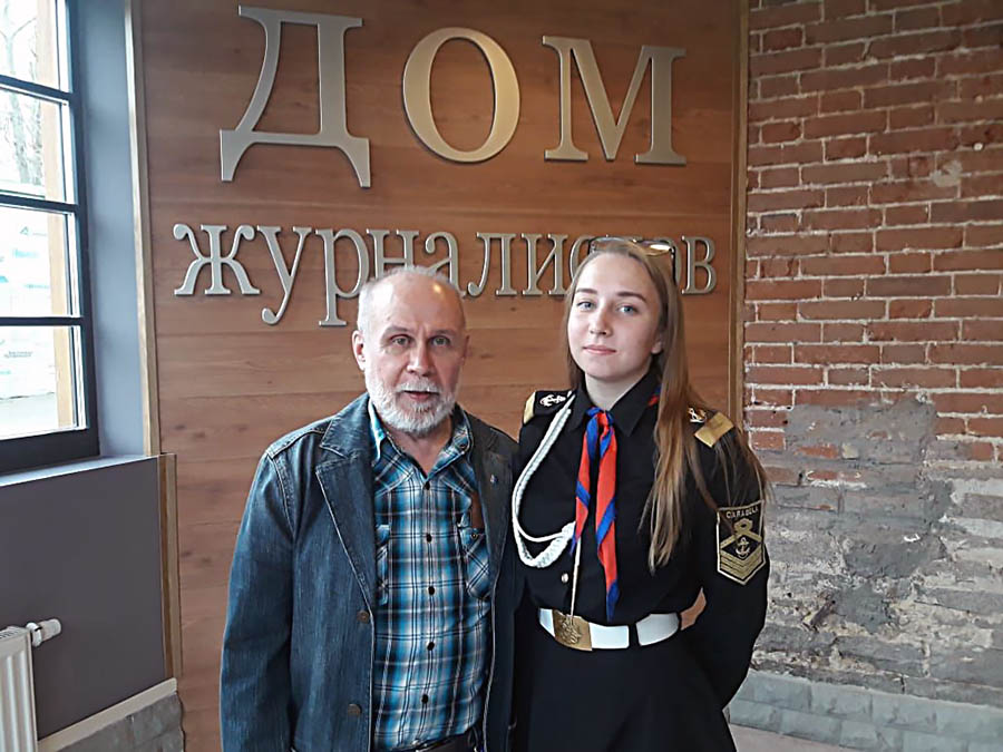 Сергей Плотников (СТСЖ) и   Анастасия Васильева (отряд Каравелла) на Дне юнкора